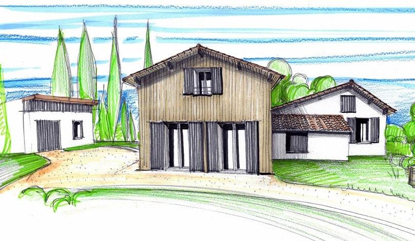 Extension bois d'une maison - Roullet - Charente - Plan