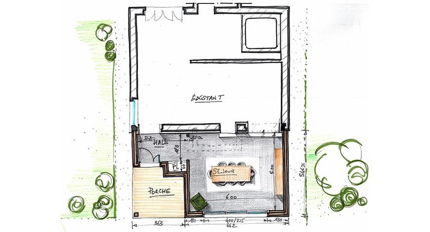 Extension bois d'une maison - Ruelle - Charente - Plan