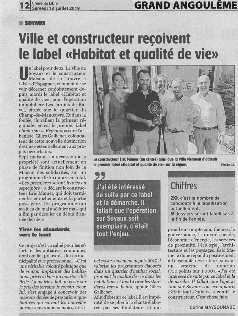 Article Charente-libre : Les maisons de la Touvre obtiennent le label HQV